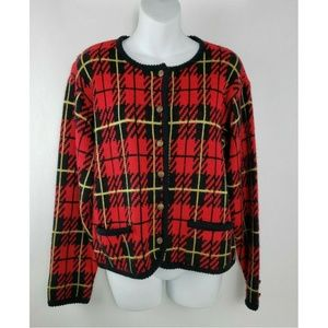 Vintage Tally-Ho Knit Red Checkered Plaid Cardigan
